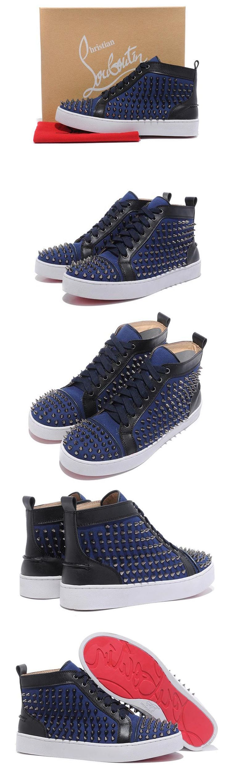 Blue Christian Louboutin Men's Louis Studded Hi-Top Sneakers