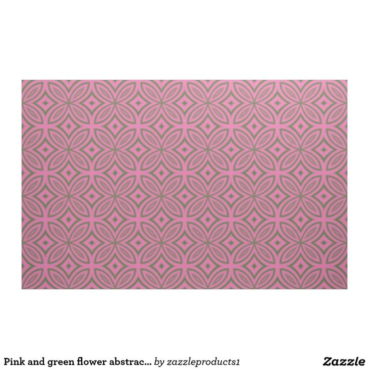 Pink and green stylized #geometric flower abstract pattern #fabric. Many colors available!