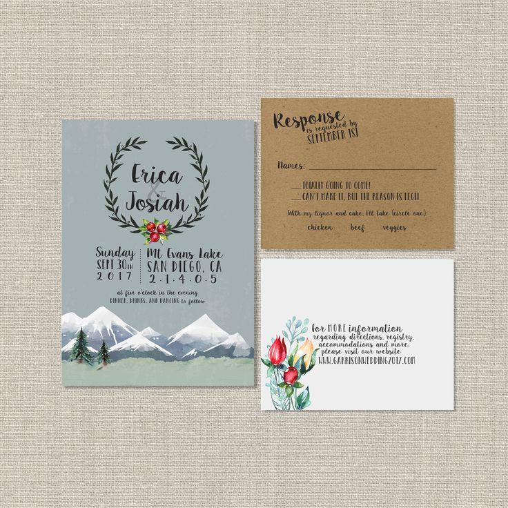 Watercolor Wedding Invitation Suite SplashOfSilver Etsy