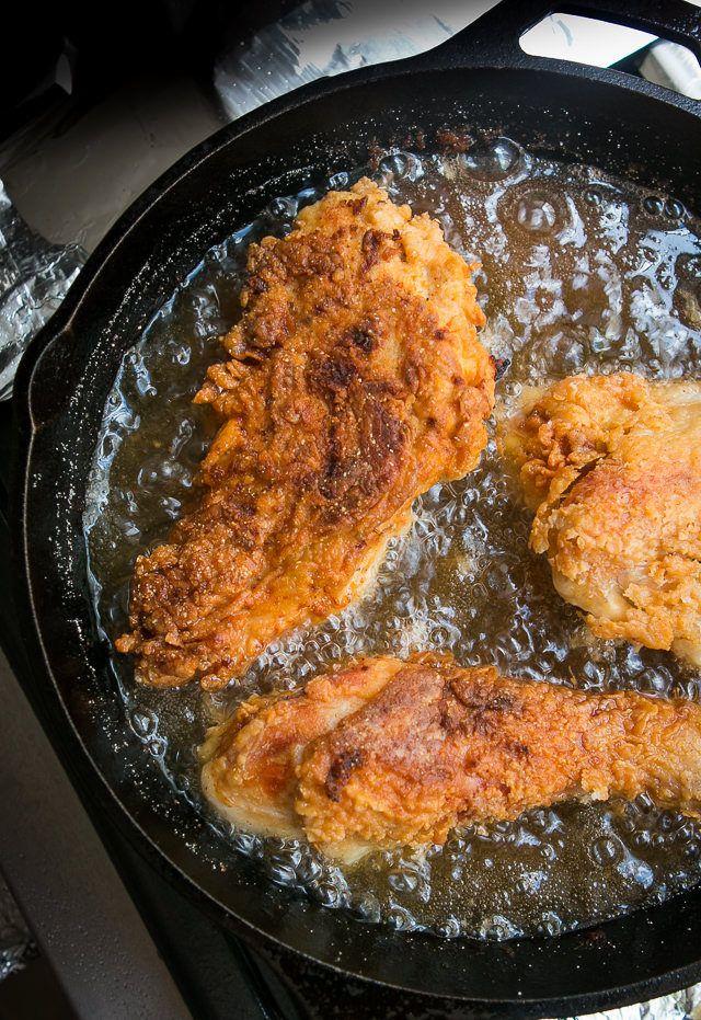 French Fried Chicken -- buttermilk mustard brine with cornmeal crust