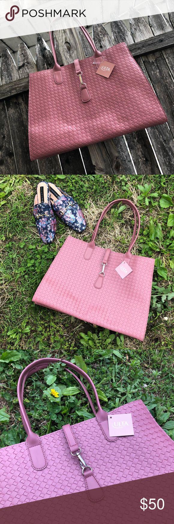 Mauve Pink Tote Bag NWT Ulta  Mauve Pink Tote Bag  Basket Weave Fashion Textured F…