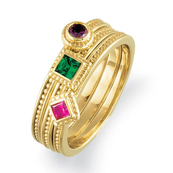 3 Mothers Stackable Ring Mountings . 14k Solid by LaremelStudio, $795.00