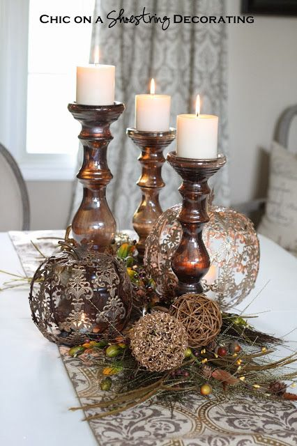 Fall Centerpiece And 50 Pier 1 Imports Gift Card Giveaway By Chic On A Shoestring Rustic Candle CenterpiecesDining Table