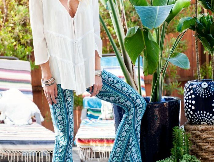 Formidable tenue hippies style and fashion hippie life style pantalon long evase