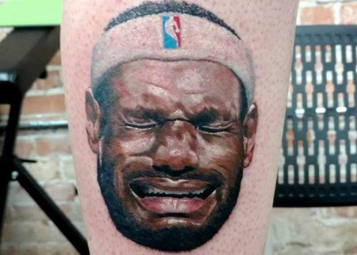 Man tatoos Lebron James Crying face on Leg. & the Lakers need to get a star now!  Lebron James to the Lakers is flat out  POLLUTION!  This will not happen! Arguably the greatest player in the modern era does not fit with Los Angeles Lakers' culture.   Lets suppose for a second he did!  What would it take for him to become a top ten Laker. Pau Gasol came to the lakers in a blaze of glory and helped deliver 2 championships. Lamar Odom grafted and played literally every position for them and…