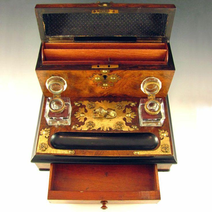 Antique Victorian Burl Walnut Inkstand Stationary Box / Desk Tidy, Brass Mounts