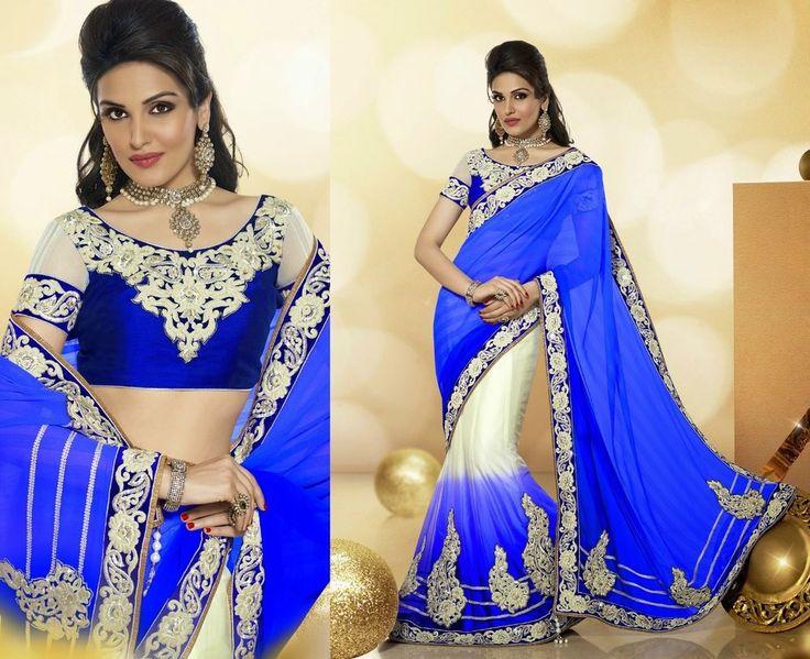 Bollywood Saree Embroidery Designer IndianBlue Partywear Lehenga Sari USCJ05 #Unbranded #LehengaSaree