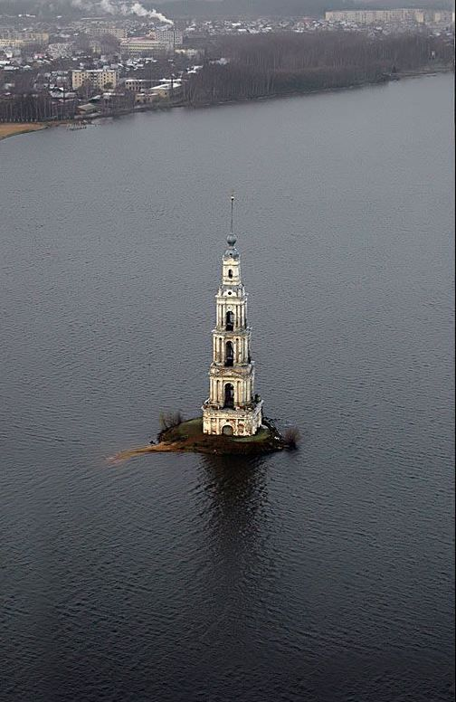 Belfry of St. Nicholas Cathedral on the artificial island of the Uglich reservoir, Kalyazin (Tver region)