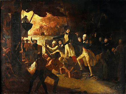 Battle of the Nile - August 1798                                                          Nelson returns on deck after having his wound dressed. The quarterdeck of a ship, with many sailors moving about. In the centre stands a man in an officer's uniform (Nelson) with a bandage around his head. He is looking to the left of the picture, where in the background a large ship is on fire.