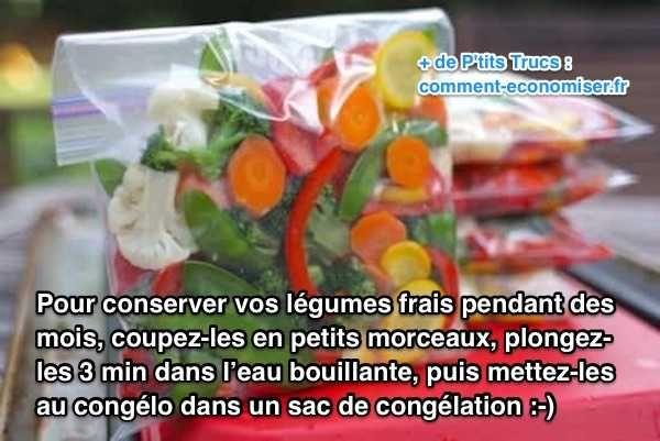 Heureusement, il existe un truc simple et efficace pour conserver vos légumes frais pendant des mois sans qu'ils ne s'abîment. L'astuce est de les congeler mais pas n'importe comment. Regardez :-)  Découvrez l'astuce ici : http://www.comment-economiser.fr/astuce-pour-conserver-vos-legumes-frais-pendant-des-mois.html