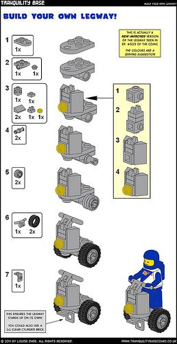 """Like a Segway, but cooler!  Instructions for models used in Tranquility Base Comic. Originally published in 2011 as bonus comic content.  These instructions are free and (to borrow a concept) """"open source"""": feel free to use them, modify them or whatever. Don't repackage or sell them though -- that would be a sucky move.  Or, more formally: These instructions are licensed under a Creative Commons Attribution-NonCommercial-ShareAlike 3.0 Unported License.  All instructions have been made using…"""