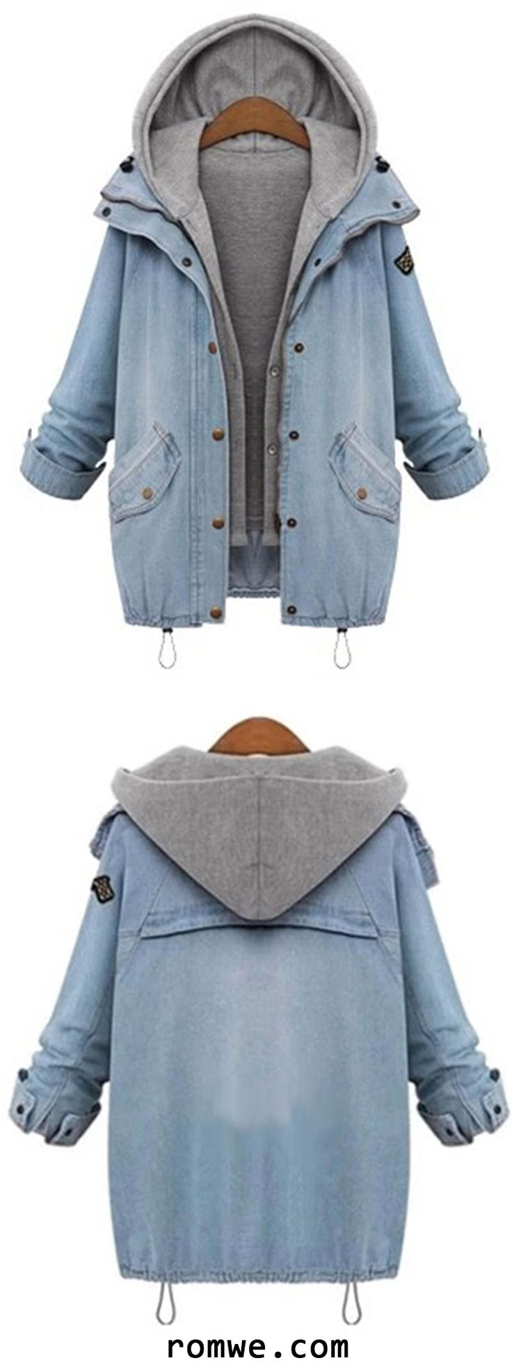 Hooded Drawstring Pockets Two Piece Coat