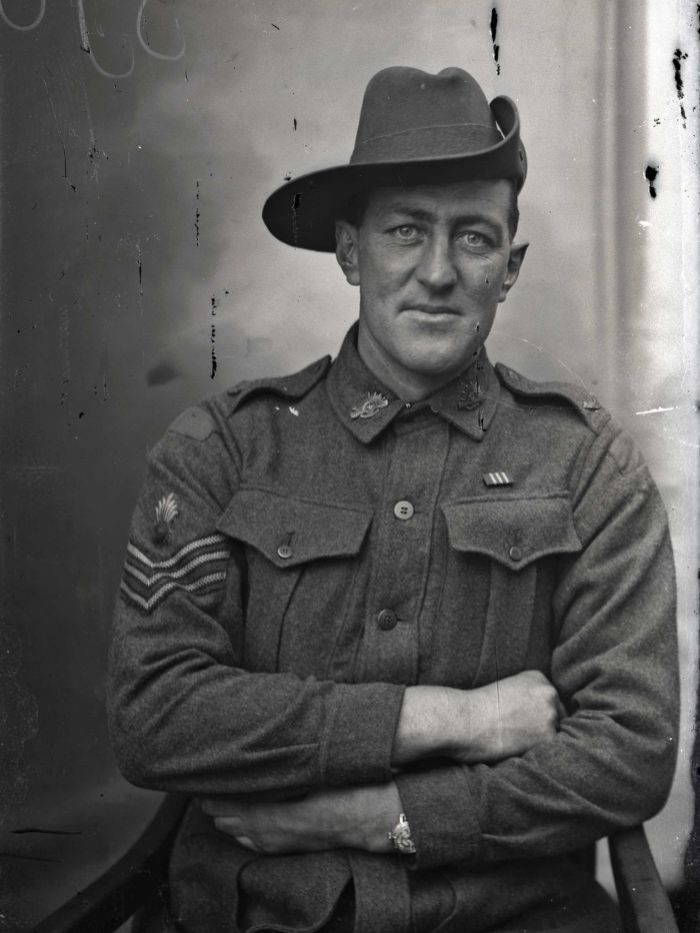 Edward 'Tiny' John Falloon, 2nd Field Company Engineers, 1917. Image from glass slides found in a trunk in France - Australian diggers on leave from the front