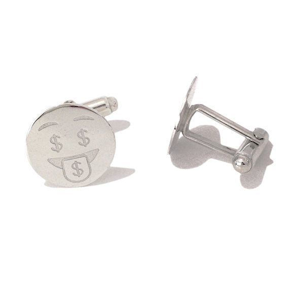 "Nana Bijou's Emoji ""Crazy Money Face"" engraved unique pair of cufflinks ~ composed of solid 925 sterling silver and finished with sterling silver backings."