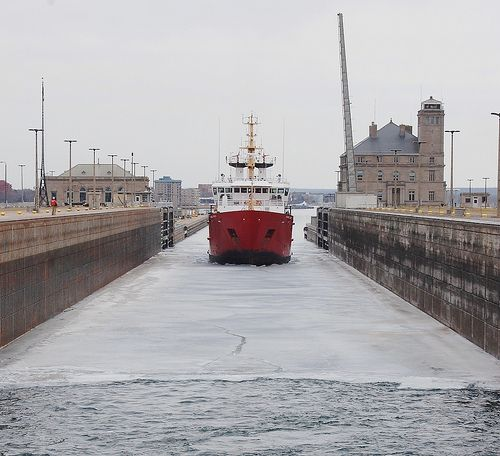 First ship of the 2012 season, a Canadian Coast Guard cutter, enters the Soo Locks