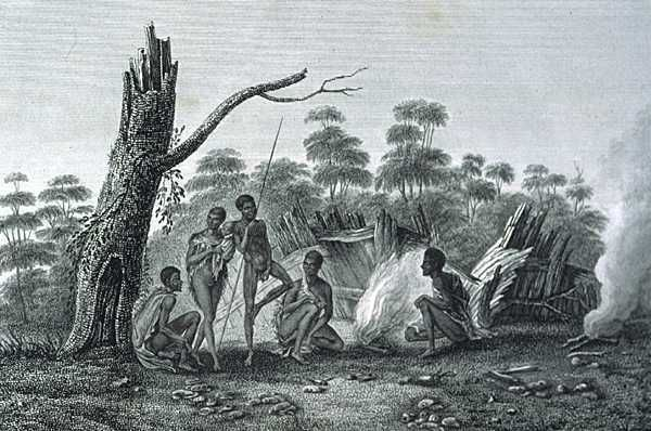 Aboriginal stone circle campfire.