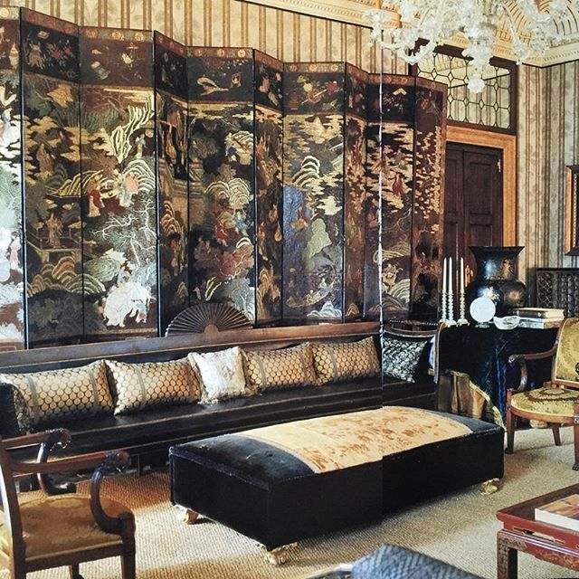 """(John Yunis)  Palazzo Sernagiotto, Venice. Peter Marino, Architect and Designer. Part 3- Main Salon: Because the house is a mid 19th century house, Mr. Lovett and Mr. Marino decided that the house should be and evocation of America in Venice, not just another copy of a Venetian house. The caption reads: """" 'The main salon is a magical room, """"says Marino. AD Jan 1994"""