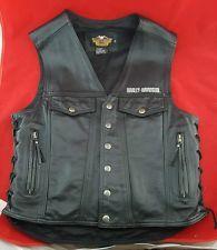 Autêntico Harley Davidson lados de renda Couro Preto jaqueta colete Moto, MASCULINA M