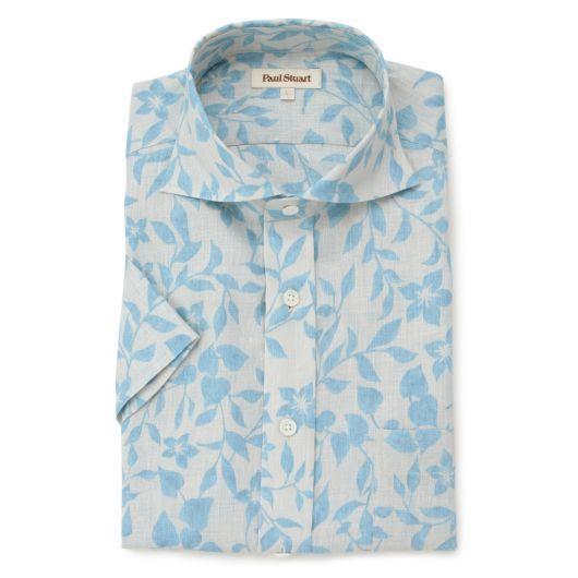 Paul Stuart MENS ポール・スチュアート メンズ|シャツ・ブラウス|ピュアリネンフローラルシャツ|リネン100%の下生地にアロハシャツテイストのフローラルプリント柄です。海の中に咲いている花をイメージした色で表現しました。裾はスクウェアですので盛夏に向けてリゾート感を出してコーディネイトしていただけるよう製品化しています。