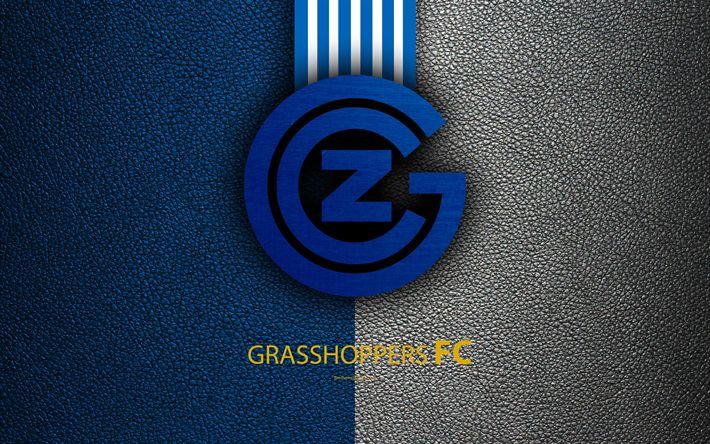 Download wallpapers Grasshoppers FC, 4k, football club, leather texture, logo, emblem, Swiss Super League, Zurich, Switzerland, football
