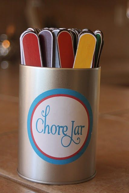 chore jar/sticks- we do this but don't color the sticks... and the chores are fairly simple. But with 4 kids... we get 4 chores finished in 5-15 minutes compared to me doing it myself and taking an hr or so... GREAT IDEA! And my kids don't complain cuz everyone draws a stick and does a chore! LOVE IT!!
