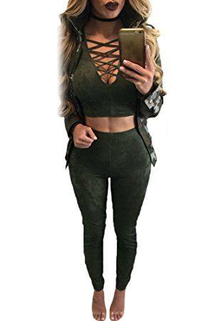 Donna verde scuro finto camoscio 2pezzi Set crop top pantaloni pantaloni tuta Clubwear abbigliamento taglia L UK 12EU 40