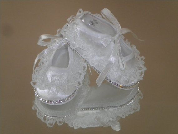 Baby Bling Lace Ruffle Christening Shoes by DiamondCouture on Etsy, $40.00