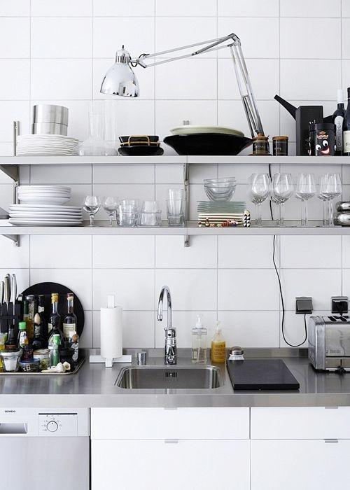 Chrome on white kitchen shelf