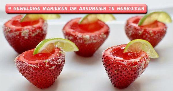 Heb jij wat aardbeien over? Probeer de volgende gerechten eens! In deze cover foto zie je heerlijke aardbeien shotjes.