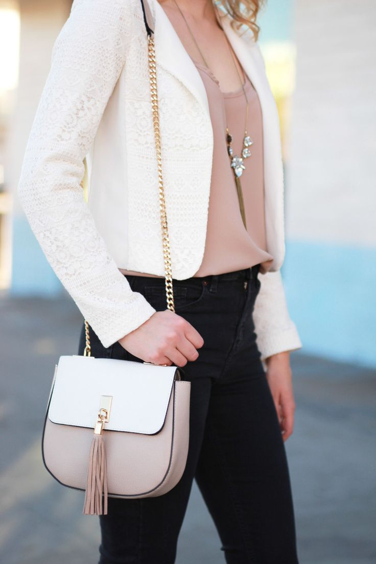 Topshop two-tone saddle bag with tassel and gold chain | Outfit Idea | Women's Fashion