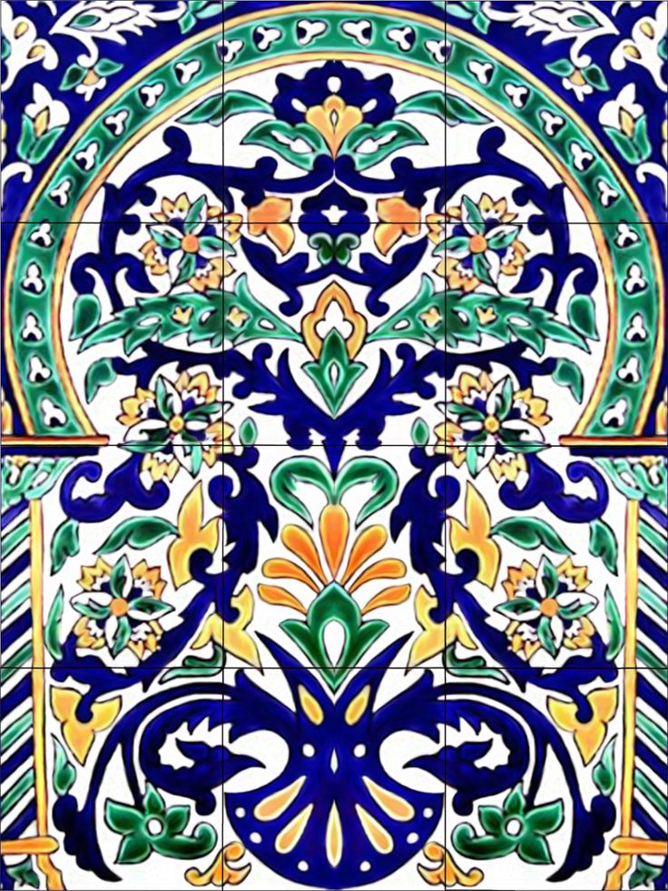 Moroccan art tile mural kitchen back splash ceramic for Artwork on tile ceramic mural