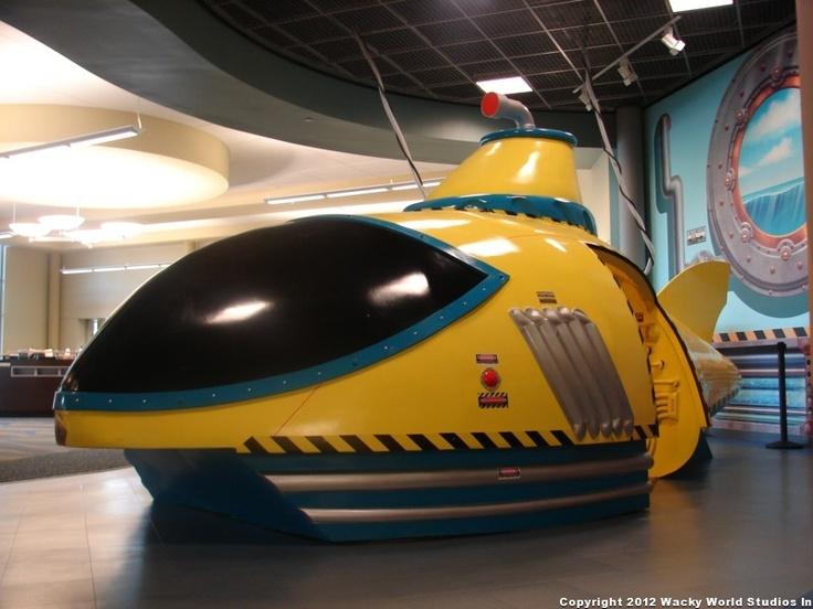 Futuristic submarine-themed play area for Fairhaven Church.