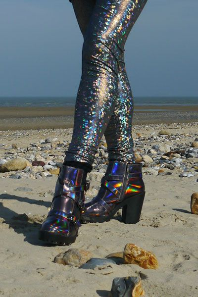 Bronze iridescent ankle boots with funky holographic leggings. Find out more at http://wightcatwalk.co.uk/the-future-is-now/