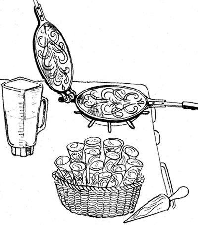 Rycraft Cookie Stamps - Cookie Recipes & Baking Tips - 20 Scandinavian Cookies by Robin Rycraft, 1971 - Krumkake