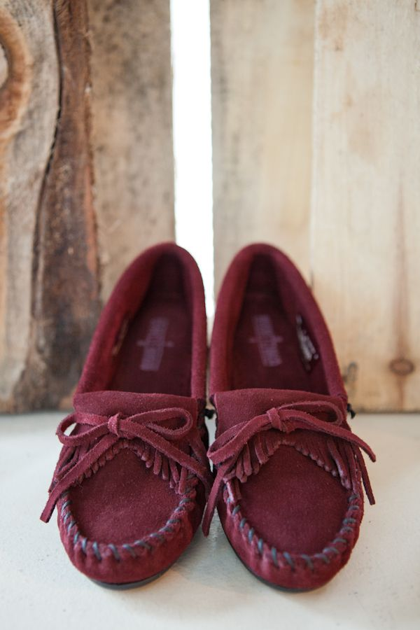 A pair of Kilty Mocs in wine for fall