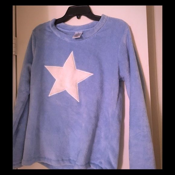 Baby blue pajama shirt Baby blue pajama shirt with white star. Super soft and fuzzy. Worn once. Intimates & Sleepwear Pajamas