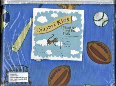 divatex kids twin size sports sheet set royal blue soccer