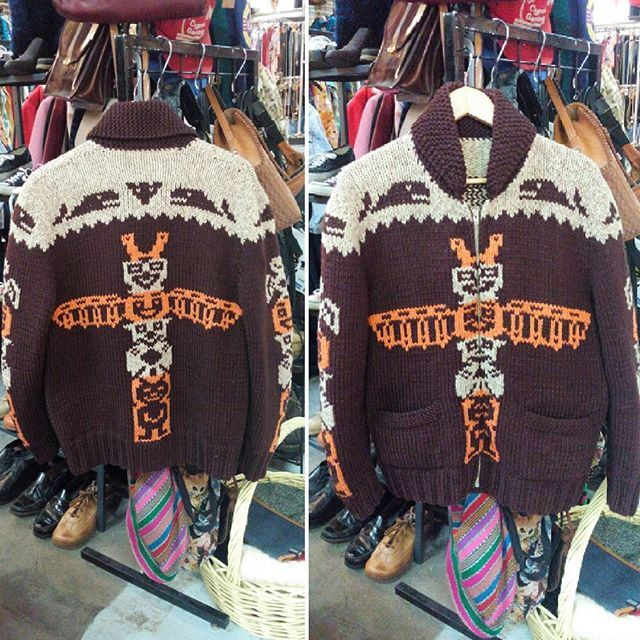 "Vintage natural wool cowichan sweater with totem pole design, chest measures 42"". Please direct message if interested.  #ourhomestc #shoplocal #truevintage #vintageclothing #vintagehunter #notmadeinchina"