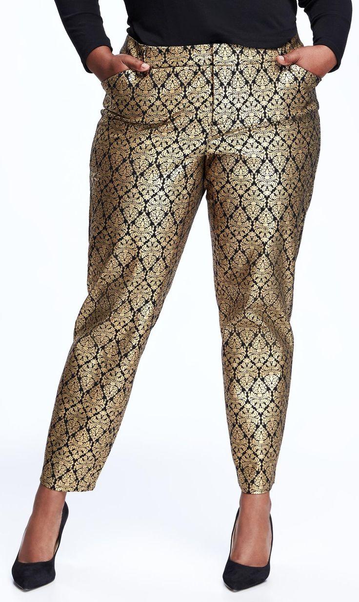 Plus Size Gold Print Pants