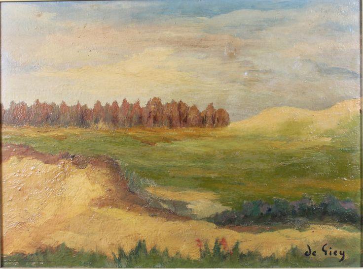De Giccy, an oil painting on board, impressionist landscape, est £50-100