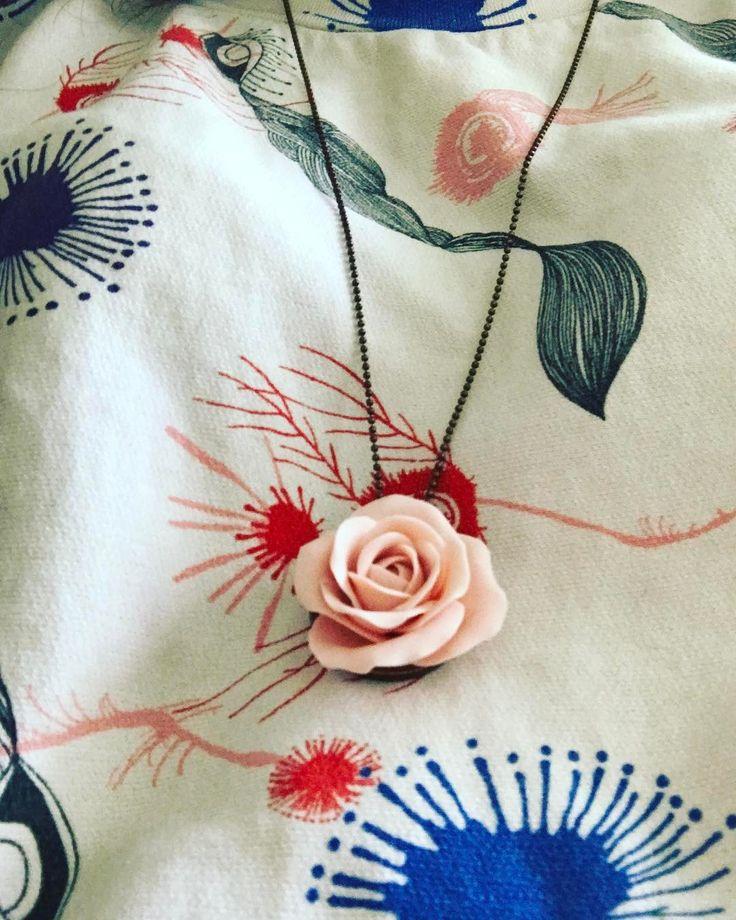 Pendant necklace request your one  15 #unique #polymerclay #polymerclayjewelry #fimo #unique #necklace #rose #colourblossom #agapeartbya