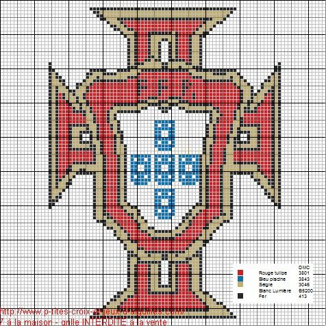 a la demande de jessica voici le logo du portugal en grille gratuite ponto de cruz cross. Black Bedroom Furniture Sets. Home Design Ideas