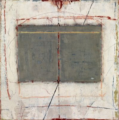 Marilyn Jonassen, Headlines, 2007, encaustic and mixed media on clay board, 16in x 16in x 2in,
