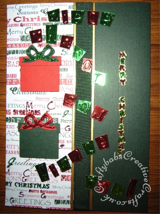 Acetate overlay Christmas card made using peel offs and Sizzix embosslits Lindsey's diary dies and Sizzix originals gifts parcels die. - craftybabscreativecrafts.co.uk