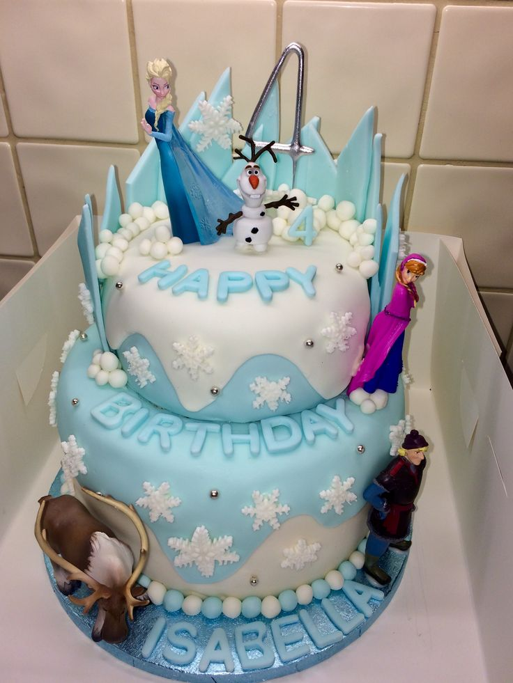 Frozen birthday cake with vanilla bottom tier and chocolate fudge top tier