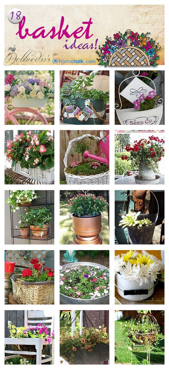 18 ways to create a #garden basket, with things you already have.