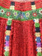 Kalotaszeg apron, detail, with local smocking technique called wasping (=darázsolás)