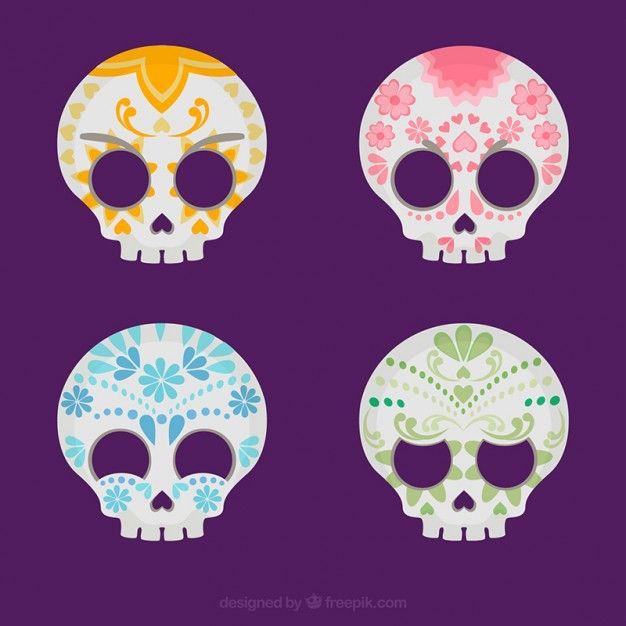 Variedad de calaveras de azúcar de colores Vector Gratis