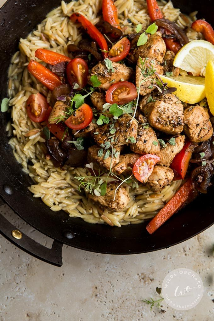 Oregano Greek Chicken | The most amazing lemon-y oregano Greek Chicken going. It's ready in 30 minutes and it only takes one pan and 10 ingredients. It's the new family favourite! | www.wildeorchard.co.uk