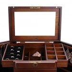 Extra Large Wooden Jewelry Box / Jewelry Cabinet With Top Mirror & Side Necklace Hangers | Zen Merchandiser